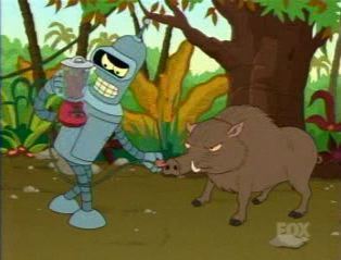 Bender trying to plug a blender into a boar.