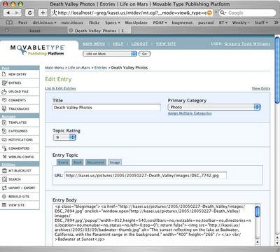 Screenshot of the Movable Type New Entry page with new fields for entry topics