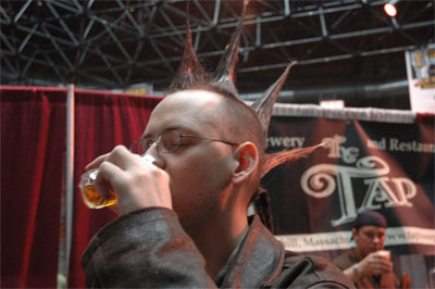 Greg enjoying a beer sample.