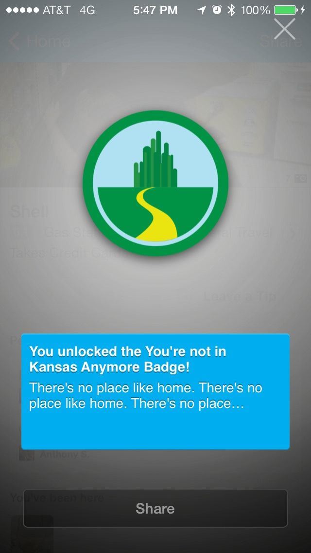 You're not in Kansas anymore! foursquare badge